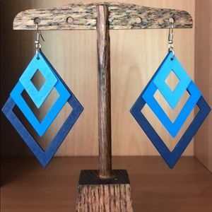Artistic Wood Blue Diamond Dangle Earrings